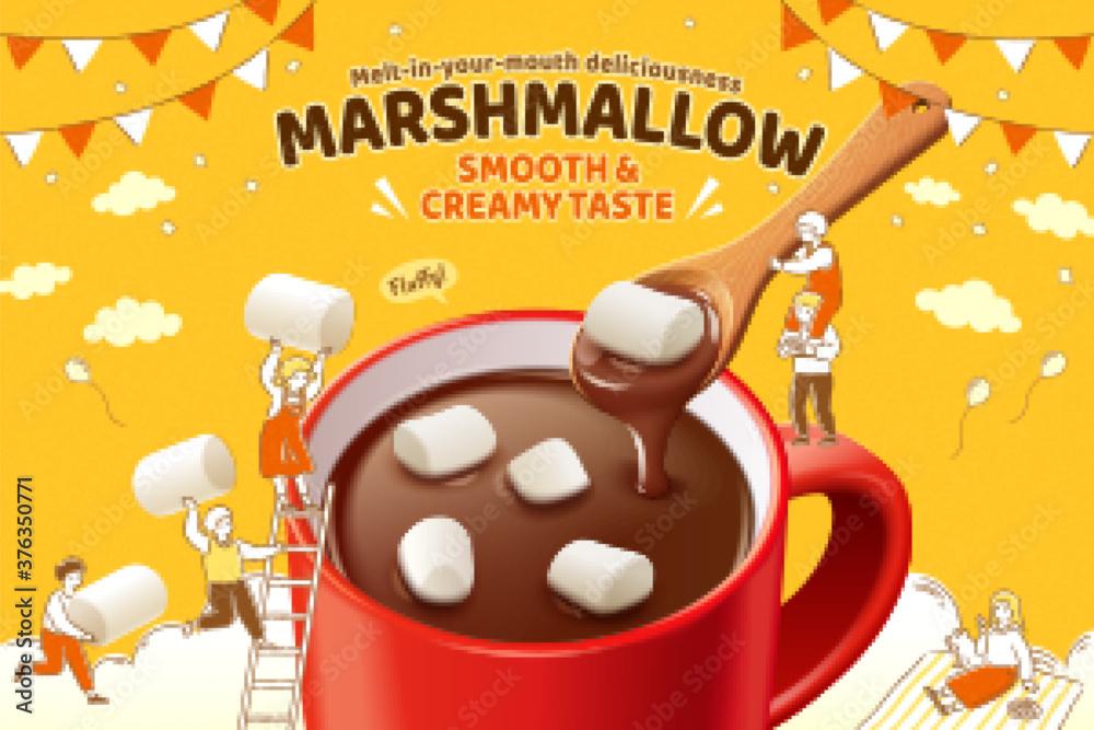 Fototapeta Marshmallow hot chocolate ad
