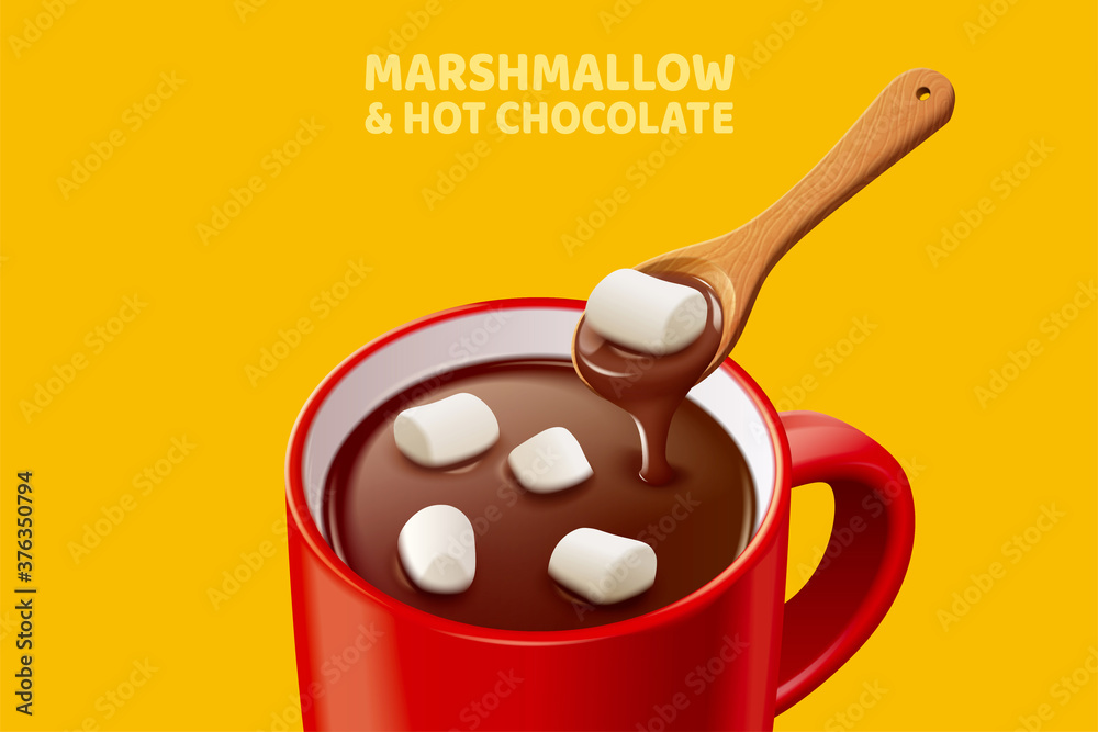 Fototapeta Marshmallow hot chocolate