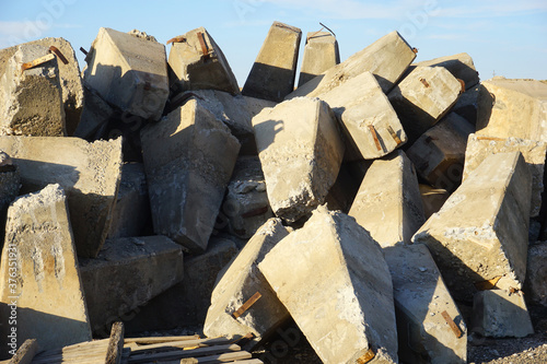 Concrete block and rubble in pile #376351931
