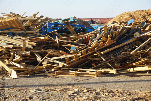 Pile of old destroyed wood #376351977