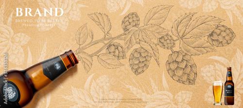 Cuadros en Lienzo Wheat beer banner ad