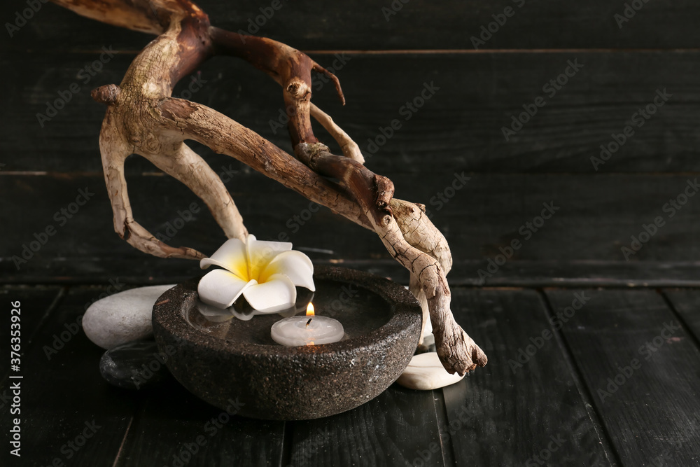 Fototapeta Beautiful spa composition on dark background. Zen concept