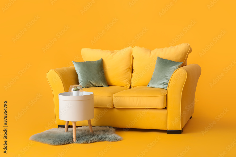 Fototapeta Stylish sofa and table on color background