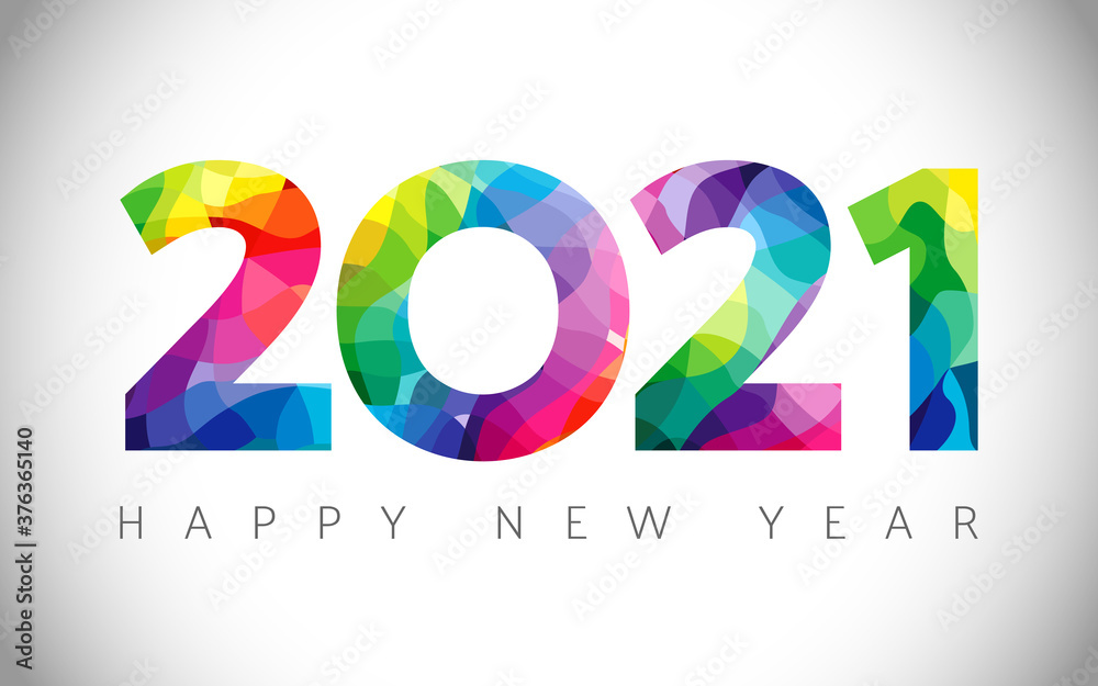 Fototapeta 2021 A Happy New Year congrats concept. Stained glass logotype. Abstract isolated graphic design template. Decorative numbers. Coloured digits. Up to 20% percent off idea. Creative colorful decoration