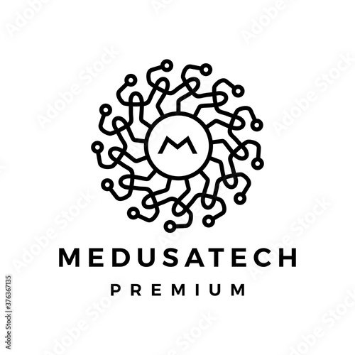 medusa tech logo vector icon illustration Wallpaper Mural