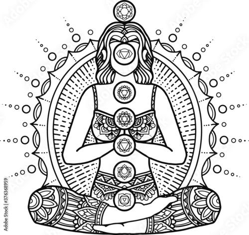Fototapeta mandala design coloring page and t-shirt print yoga concept.