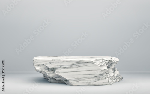 Fotomural White stone podium on gray background
