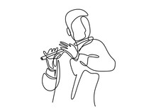 One Continuous Line Drawing Of A Man Playing The Flute. The Musician Perform With Bamboo Flute Isolated On White Background. Traditional Instrument Concept. Vector Minimalist Design Illustration