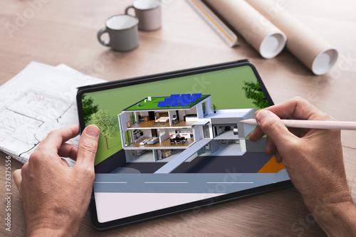 Obraz na płótnie Projet de construction et vue en coupe de l'intérieur d'une belle maison moderne
