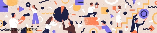 Concept of co working, business partnership, analytics or teamwork. Colleagues work together. Flat vector textured illustration of horizontal background with abstract people and geometrical shapes