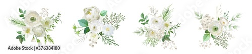 Foto Elegant Winter bouquetes, Evergreen pine brunches, pale rose, white hydrangea, ranunculus flowers, eucalyptus, rowan berry, greenery leaves, floral elements