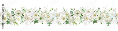 Foto Winter floral vector garland border, Watercolor Flowers Christmas season frame,