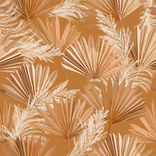 Tropical Vector Dry Palm Leaves, Pampas Grass Seamless Pattern, Watercolor Design Boho Background For Wedding, Textile Print, Exotic Tropical Wallpaper Texture, Cover, Backdrop, Decoration