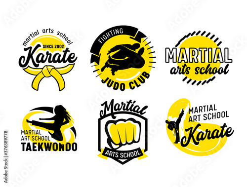 Set of Icons for Martial Arts School, Banners or Labels with Fighters, Fist and Typography. Emblems for Combat Classes