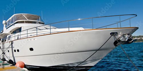 Fototapeta .Luxury super motor yacht moored at a Sydney Marina. Australia