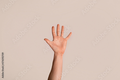 Obraz Young guy showing his hand with open palm, gesturing high five on light background, closeup - fototapety do salonu