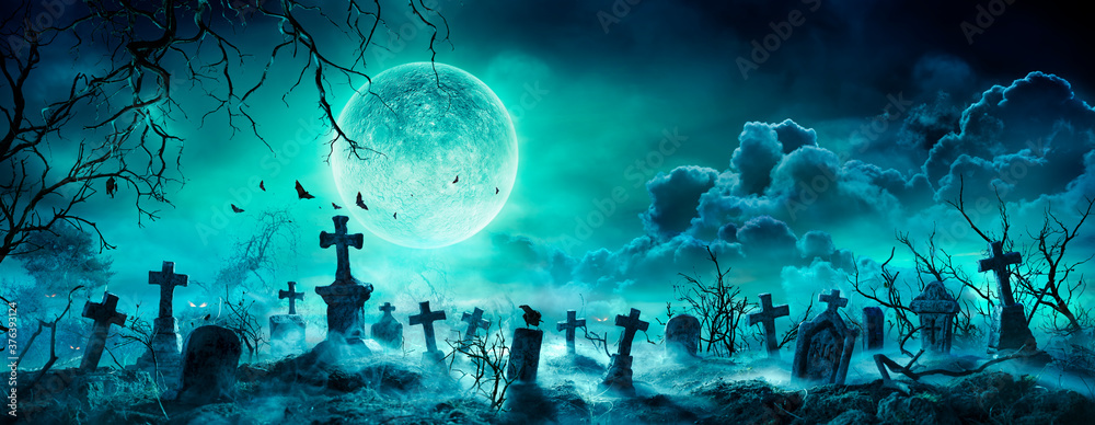 Fototapeta Graveyard At Night - Spooky Cemetery With Moon In Cloudy Sky And Bats