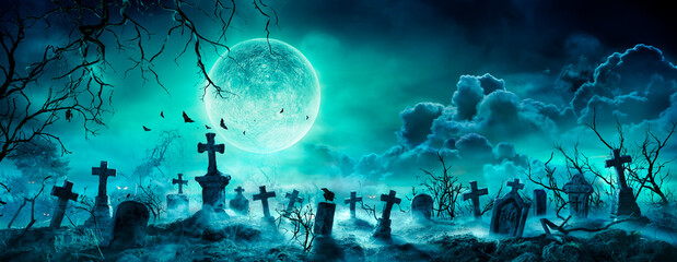 Graveyard At Night - Spooky Cemetery With Moon In Cloudy Sky And Bats