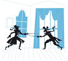 Musketeers Sword Duel. D'Artagnan Vector Illustration
