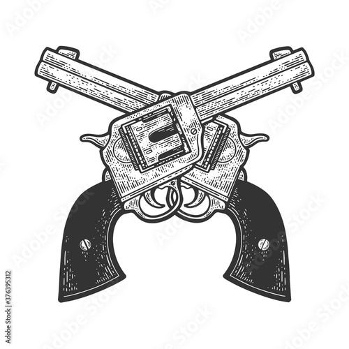 Canvas Print crossed cowboy revolvers pistols sketch engraving vector illustration