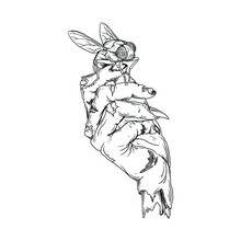Tattoo And T-shirt Design Black And White Hand Drawn Zombie Hand With Flies Premium Vector
