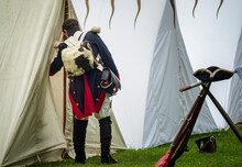 Napoleonic Soldier Looks Into The Tent