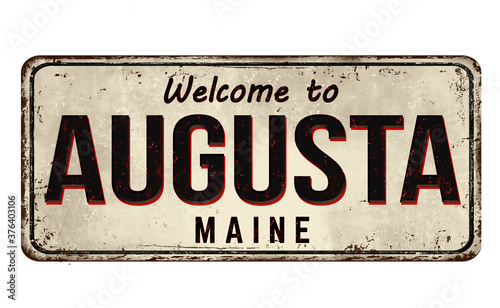Welcome to Augusta vintage rusty metal sign Canvas Print