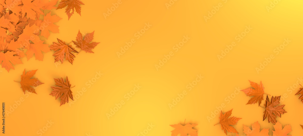 Fototapeta Autumn leaves background. Orange fall leaf abstract template illutration. Leaves floral mockup. 3d rendering.