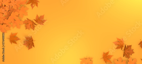 Obraz Autumn leaves background. Orange fall leaf abstract template illutration. Leaves floral mockup. 3d rendering. - fototapety do salonu