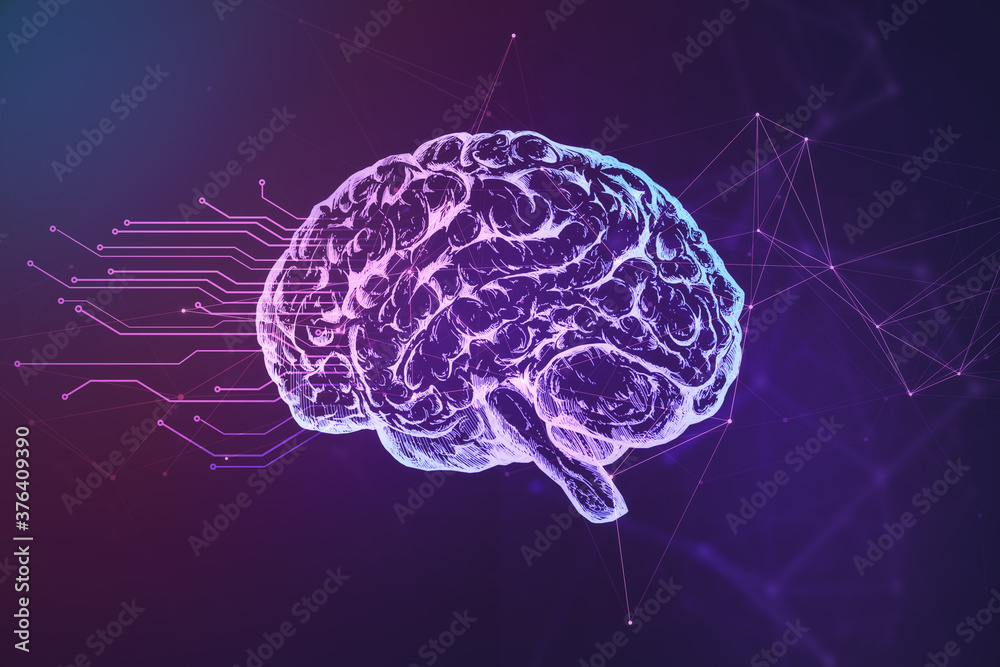 Abstract brain hologram on blue background.