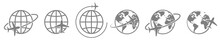 Globe Plane Icon Vector. Airpl...