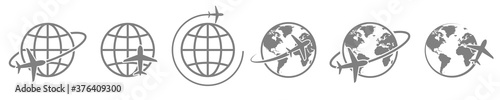 Fototapeta globe plane icon vector. airplane fly around the earth. international world fly sign symbol. isolated logo on white background. jet aircraft map global passenger cargo logistic concept obraz