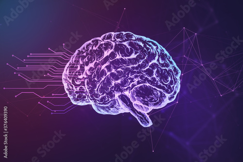 Foto Abstract brain hologram on blue background.
