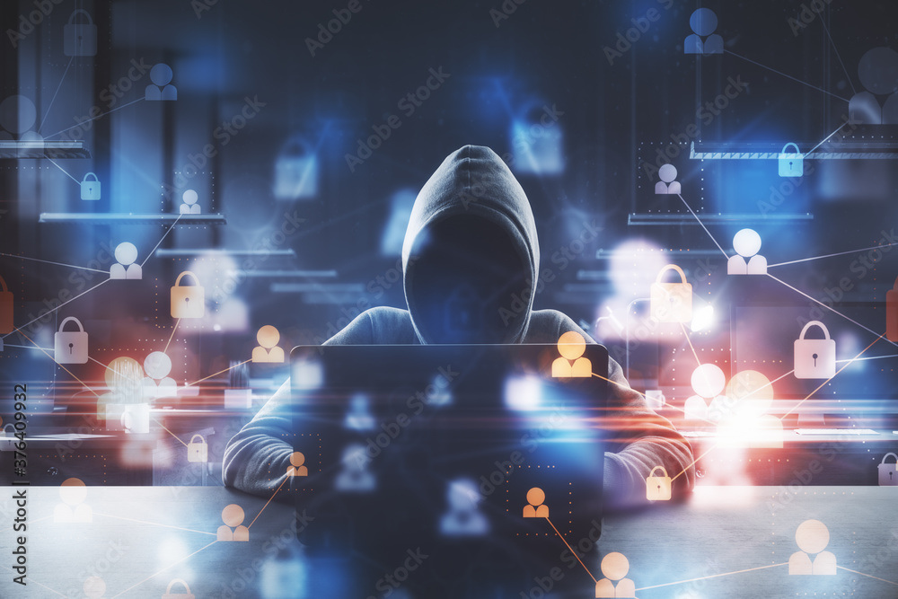 Fototapeta Hacker using laptop with abstract padlock network hologram