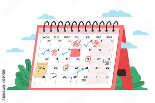 Obraz Calendar time management concept. Vector conceptual illustration of a big desk calendar showing monthly schedule with notes and check marks. Concept of time management, monthly schedule, timetable - fototapety do salonu