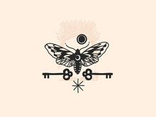 Hand Drawn Vector Abstract Stock Flat Graphic Illustration With Logo Elements ,moth And Key , Magic Line Art In Simple Style For Branding ,isolated On White Background