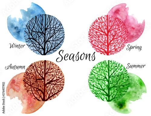 Hand drawn four seasons design Tableau sur Toile
