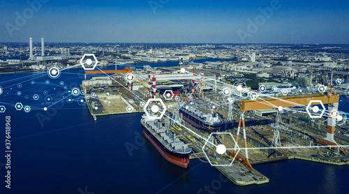 Obraz na plátně 港とネットワーク