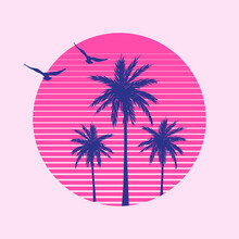 Vector Illustration With Palms...