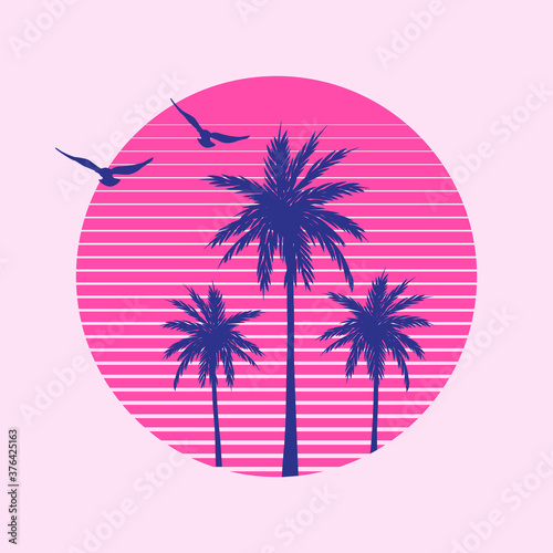 Vector Illustration With Palms, Sunset and Birds for T-Shirt Print | Miami Vibes Summer Graphic
