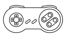 Retro Video Game Controller / Classical Joystick Line Art Icon For Apps Or Website