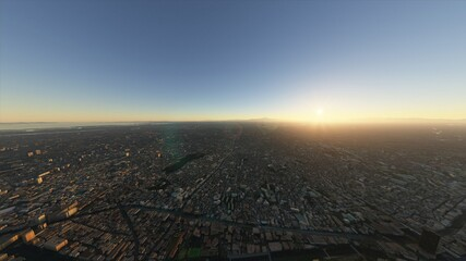 Tokyo aerial photography, Tokyo drone filming, Tokyo aerial view, Tokyo view from an airplane. Photorealistic 3D render.