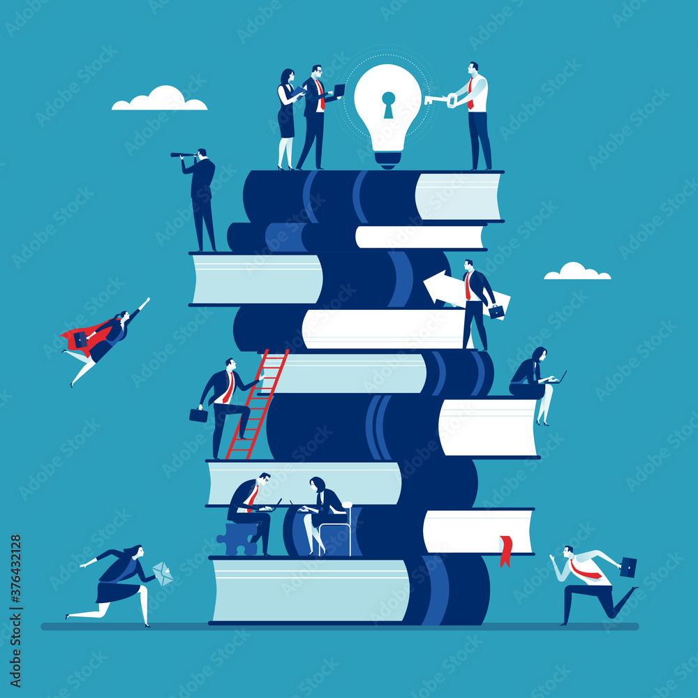 Fototapeta Business solution and teamwork concept. The business team is working on a large stack of books and the manager at the top holds the key to solving the business idea. Business vector illustration.
