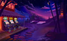 Asian Temple At Night Sunset Sky Starting River House Bamboo Garden 3d Illustration Art Background. Casino At Night In Asia Slot Machine.