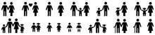 Family Icon Set Isolated On White Background. Vector