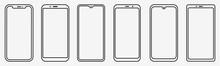 Smartphone Outline Set. Phone....