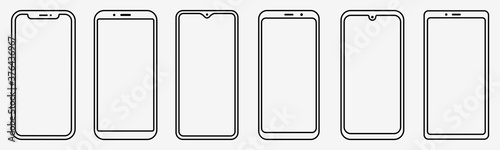 Smartphone outline set. Phone. Mobile phone. Vector Tapéta, Fotótapéta