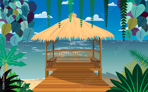 Photographie landscape of pavilion on the beach  in summer