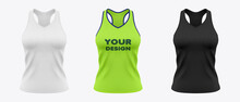 Women's  Sleeveless Fitness Tank Top. Sport Wear Mockup. Cloth For Gym And Yoga. 3d Realistic Illustration Isolated On White Background