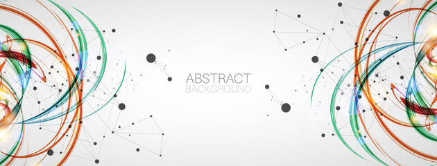 Abstract swirling colored background for design works. Futuristic geometric composition.